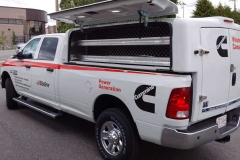 Cab Height Truck Cap with Integrated Shelving