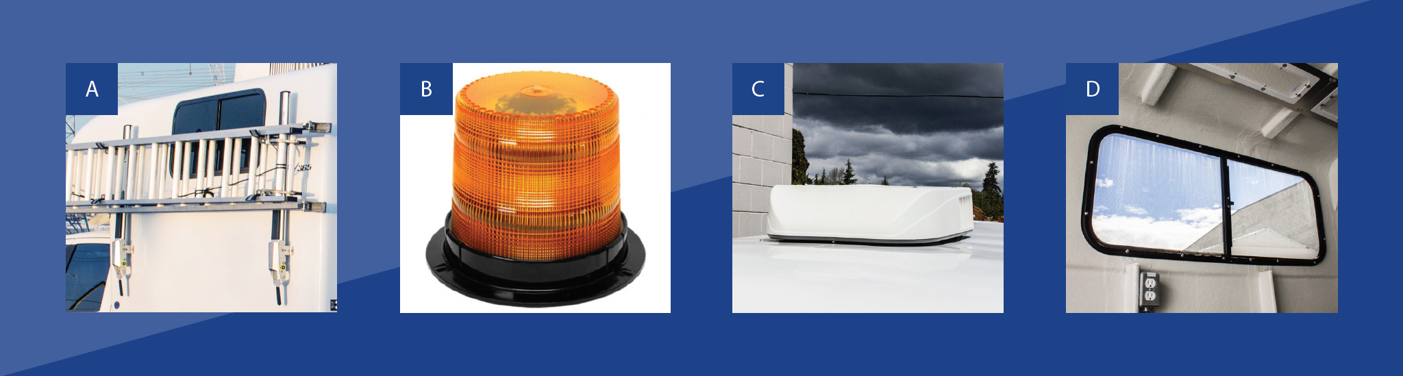 Feature image for sterling's fiber optic truck cap first set of features. Side mount clamping ladder rack, amber beacon light, roof mount air conditioning unit and camper-style window.