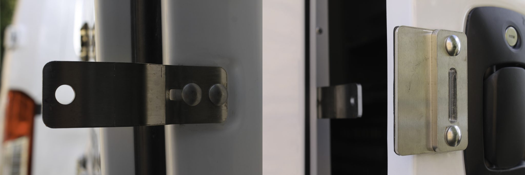 Image of the hasps used to secure a puck lock on a maranda/fiber optic splicing capsule. The left side of the image shows the piece the pin of the puck lock goes through. The right side shows the slot that the hasp will go through on the right door. Once the hasp is through the hole place your puck lock and lock it in place.