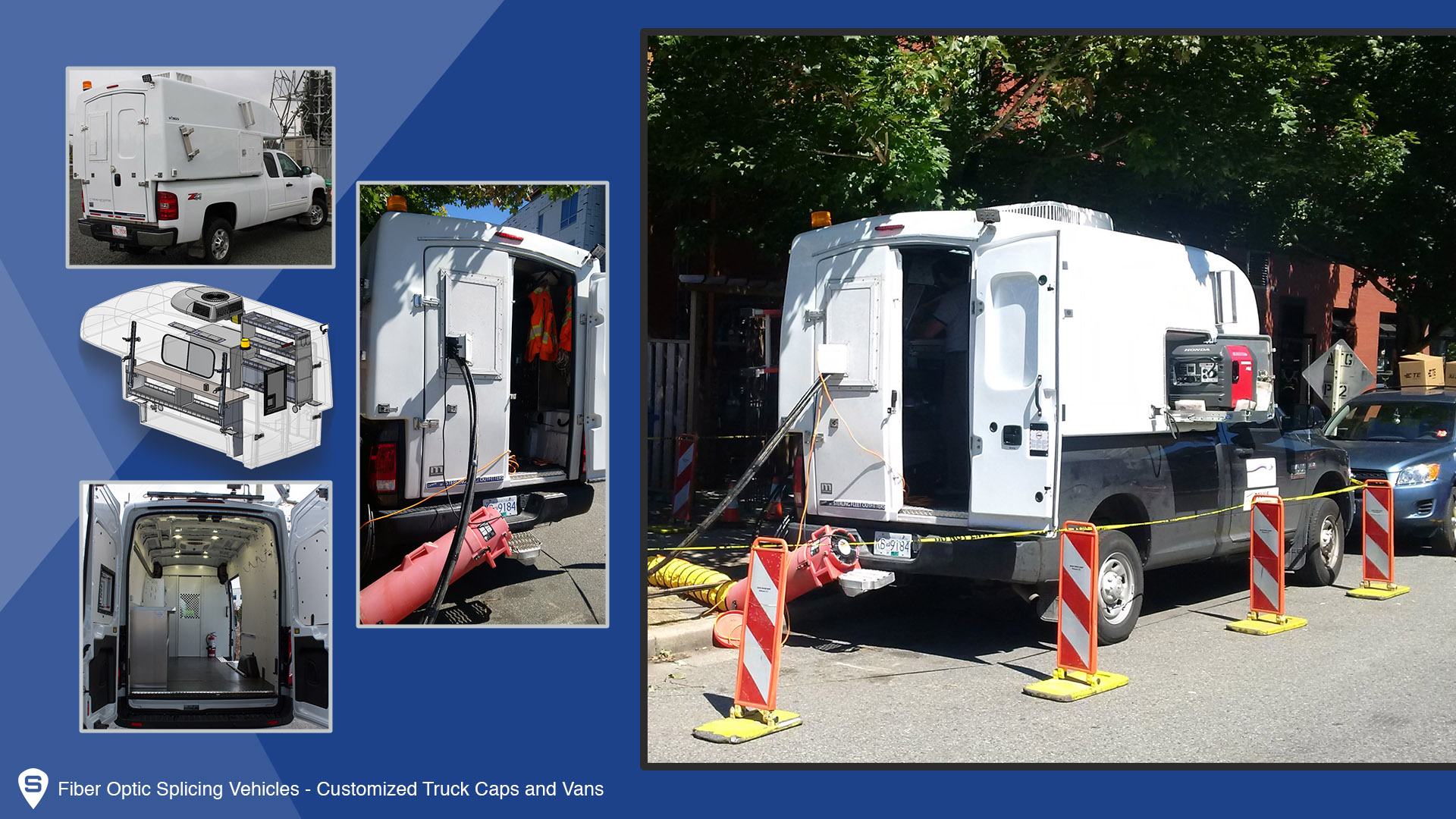 Fiber Optic Splicing Capsule and van shown at work as well as many of the features. You can see the small door latches which allow the cables to enter the cap or van and still control the internal temperature of your vehicle.