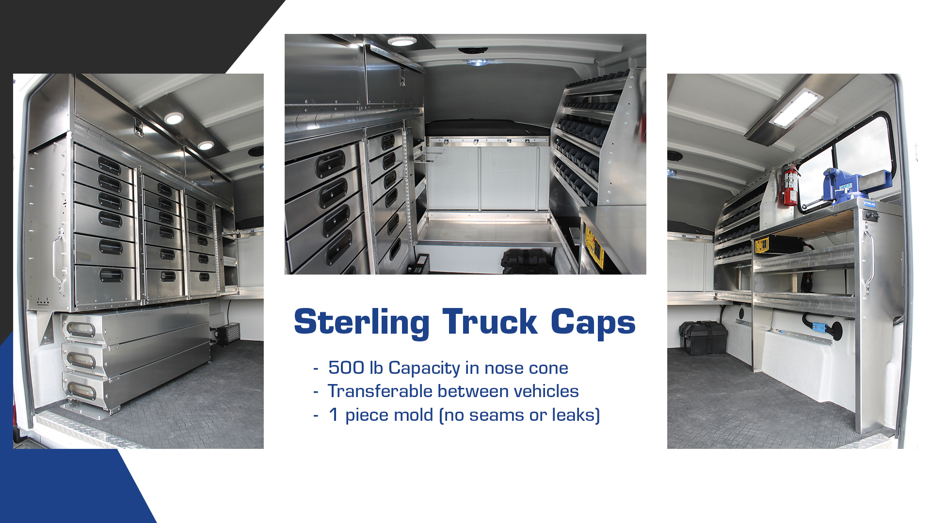 Sterling Truck Capsules have a 500 lb capacity in nose cone, are transferable between vehicles and are made of a 1 piece mold so there are no seams or leaks.